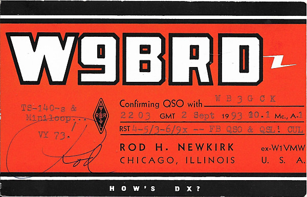 QSL card from W9BRD documenting our unusual QSO in 1993.