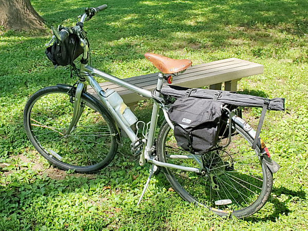 My bike loaded up with everything I need for operating QRP in the park—except for my antenna!