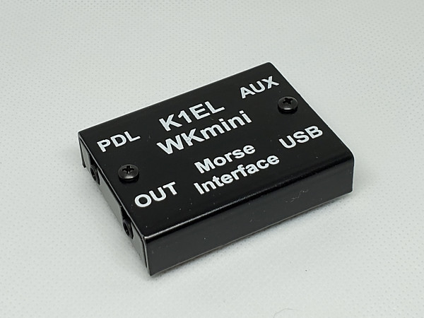 "The WKmini Morse Interface from K1EL Systems. This compact device measures 2.25"" W by 1.75"" D by .5"" H."