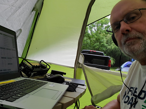 Yours truly, WB3GCK, operating CW from my tent