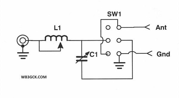 """Schematic of the """"Simple and Flexible Tuner for QRP."""""""