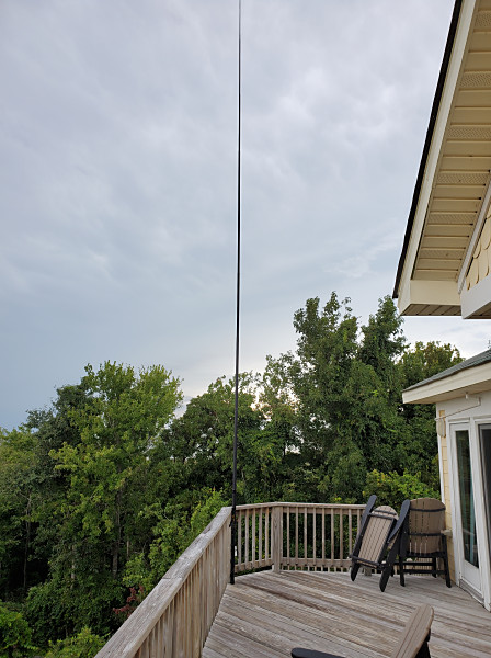 My antenna set up on the 3rd story deck of the house we rented for the week.