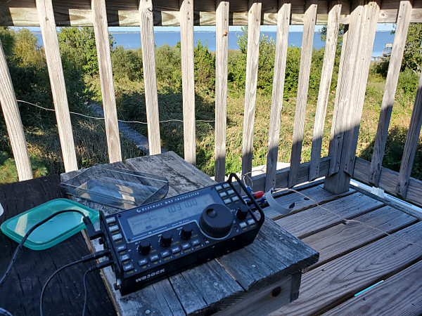 My KX3 out on the deck. You can see the two pieces of speaker I used for an antenna.