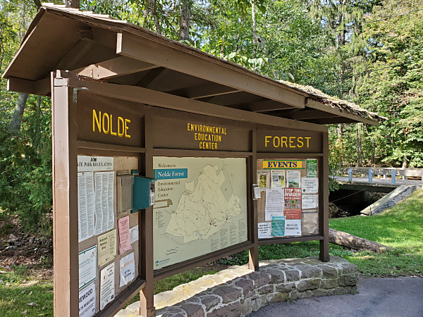 Bulletin board in the Sawmill parking area at Nolde Forest Evironment State Park